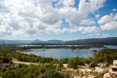 View of a large lake with Islands in Montenegro Stock Photo