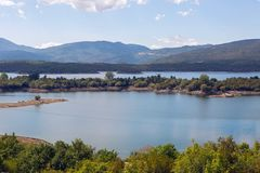 View of a large lake with Islands in Montenegro Royalty Free Stock Photo