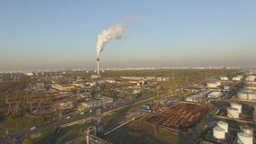 View of large oil refinery stock footage
