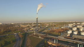 View of large oil refinery stock video footage