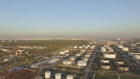 View of large oil refinery stock video