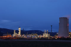 View of large petrochemical factory in night Royalty Free Stock Images