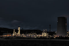 View of large petrochemical factory in night Royalty Free Stock Photos