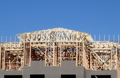New top of building under construction stock images