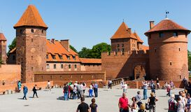 View of largest medieval brick Castle of Teutonic Order in Malbork, Poland