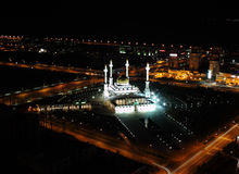 View of the largest mosque in Astana, a bird's-eye at night. Stock Photo