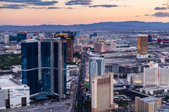 View of Las Vegas from Stratosphere Tower at dusk Stock Photos