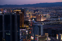 View of Las Vegas from Stratosphere Tower at night Stock Images
