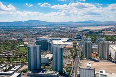 View on the Las Vegas Strip from Stratosphere Tower. LAS VEGAS/NEVADA, AUGUST 24, 2017: Epic view on Las Vegas Strip with Westgate Casino symbol from Stock Images