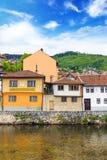 View of the Latin bridge, one of the oldest bridges of Bosnia and Herzegovina, runs through the Milyacka River in Sarajevo, Bosnia Stock Images