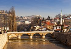 View of the Latin Bridge in Sarajevo Royalty Free Stock Photos