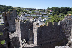 View of Laugharne village from the Castle Stock Photography