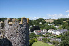 View of Laugharne village from the Castle Stock Image