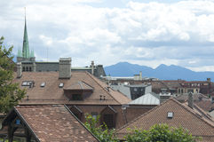 Slanting Rooftops and a Chapel. A view of Lausanne, Switzerland Stock Image