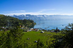 View of Laut Tawar Lake. At Gayo Highland from Bur Gayo Mountain, Takengon, Province of Aceh, Indonesia stock images