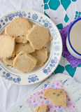 View of lavender cookies on a plate Stock Photos