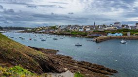 View of le Conquet city in Brittany Bretagne, France.  stock photography