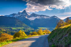 View of the Le Drac valley, Alps Stock Photography