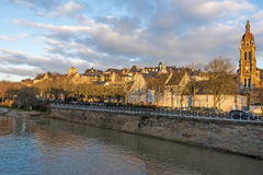 View of Le Mans historic area from Sarthe River Stock Images