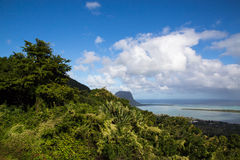 View on Le Morne Mauritius from Plaine Champagne.  Royalty Free Stock Photo