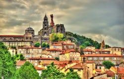 View of Le Puy-en-Velay, a town in Haute-Loire Stock Photos