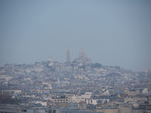 View of Le Sacre-Coeur from Arc de triomphe. Paris, France-November 24, 2016:From Arc de triomphe de l`Etoile we can see Le Sacre-Coeur. The distance is around Royalty Free Stock Photo