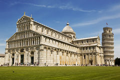 View of Leaning tower and the Basilica, Pisa, Italy Royalty Free Stock Image
