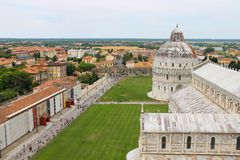 View from Leaning Tower to Cathedral and Baptisery in Pisa, Italy Stock Photo
