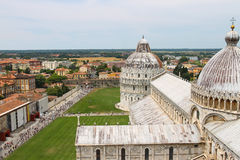 View from Leaning Tower to Cathedral and Baptisery of St. John Royalty Free Stock Image