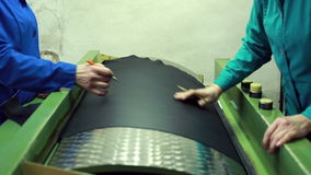 View of leather material pull to find defects stock footage