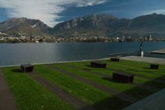 View of lecco. A nice view of Lecco city from Malgrate, On the Lake of Como royalty free stock photography