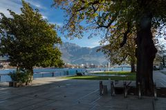 View of lecco. A nice view of Lecco city from Malgrate, On the Lake of Como. November 2017 royalty free stock photos
