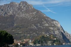 View of lecco. A nice view of Lecco city from Malgrate, On the Lake of Como. November 2017 royalty free stock photography