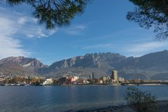 View of lecco. A nice view of Lecco city from Malgrate, On the Lake of Como. November 2017 stock photos