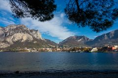 View of lecco. A nice view of Lecco city from Malgrate, On the Lake of Como. November 2017 Stock Photo