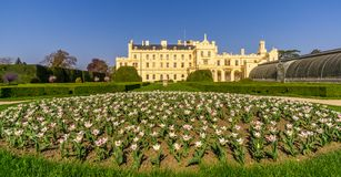 View at the Lednice castle from garden - Czech republic, Moravia Royalty Free Stock Photos
