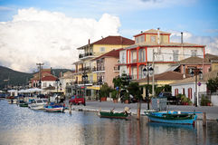 View of Lefkada town in the evening, Stock Image