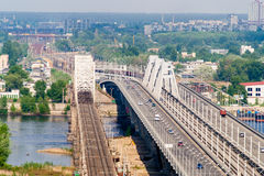 View of the left bank of Dnieper in Kyiv Stock Photo