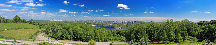 View of Left Bank of Dnieper in Kyiv Stock Photos