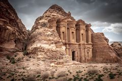Monastery in petra royalty free stock image