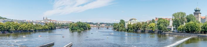 View of the Legion bridge in Prague. In summer royalty free stock photo