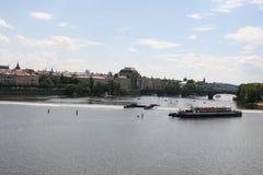 View of Legions Bridge  from Charles Bridge. The Charles Bridge ( Karlův most) is a famous historic bridge that crosses the Vltava river in Prague, Czech Stock Image