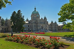 A view of the Legislative landmark building, Victoria Stock Photos