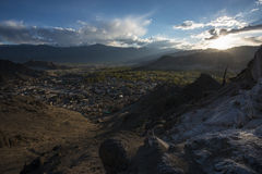 View of Leh city during sunset take from Namgyal Tsemo Gompa Ladakh ,India. Stock Image