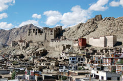 View on Leh palace. View on capital city of Ladakh (Kashmir - India). Leh Palace was home of the Ladakhi royal family before they were exiled to Stoc in the 1830 Stock Images