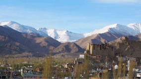 View of Leh Palace and Namgyal Tso Monastery stock video
