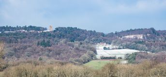 View of Leith Hill taken from its south side on a cold winter day. Leith Hill, Surrey, UK - February 02 2019: View of Leith Hill taken from its south side on a royalty free stock photos