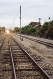 View of the length of railway ,Perspective railway,filtered image, light effect and flare added,selective focus royalty free stock images