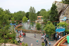View from Les Espions de Cesar over water fountains and Le Grand Splatch attraction at Park Asterix, Ile de France, France Stock Photography