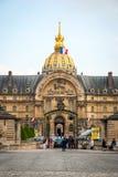 View on Les Invalides building with golden dome, Paris Stock Photos